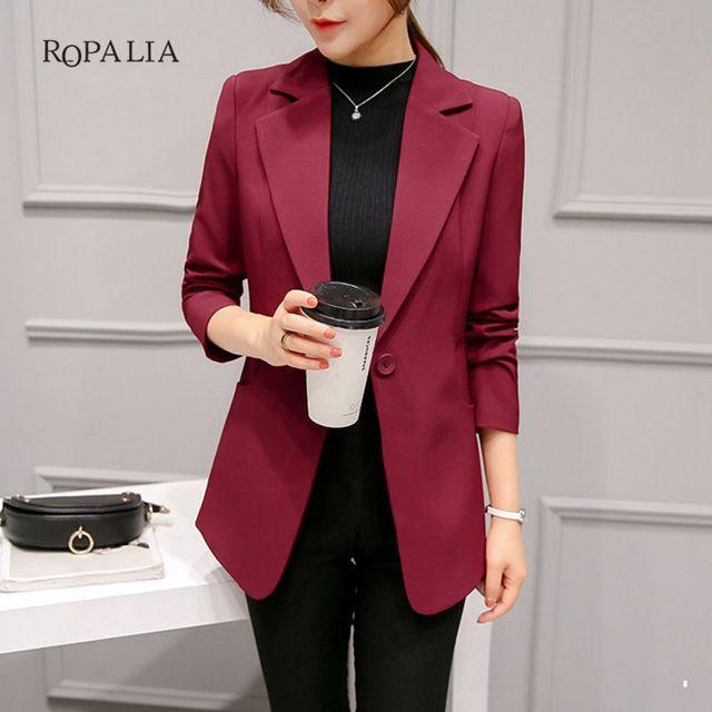 Wine Red Black Women Blazers And Jackets New Spring Autumn Fashion Single Button Blazer Femenino Ladies Blazer
