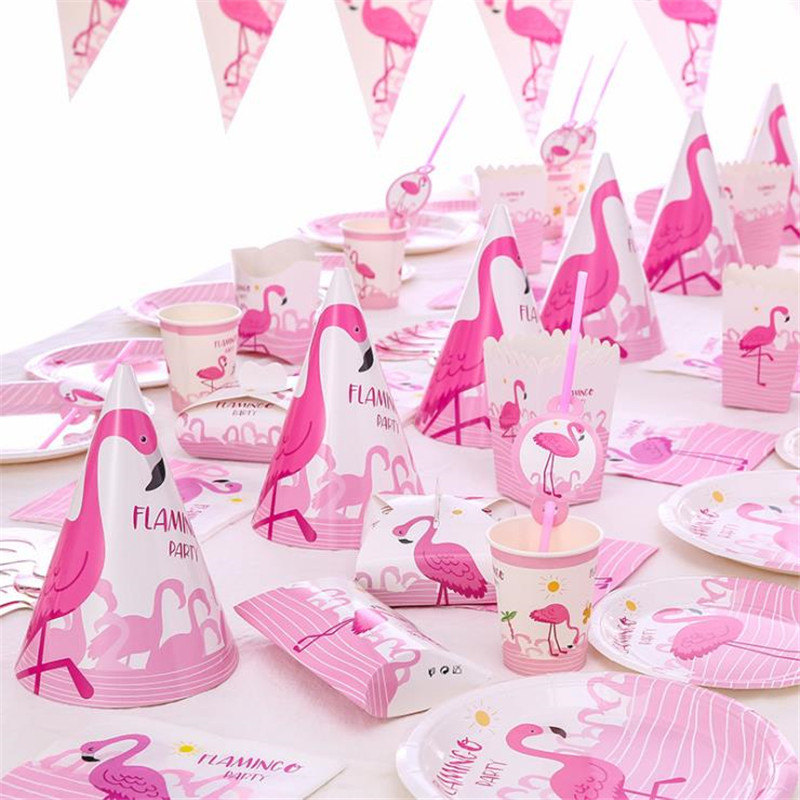 Omilut Birthday Party Kid Flamingo Decoration Valentines Day Pink Cartoon Disposable Tableware Set