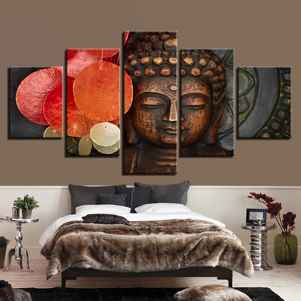Home Decoration For Kids Room Framework  5 Panel Figure Of Buddha Canvas Art Print Modular Painting Poster Wall Picture