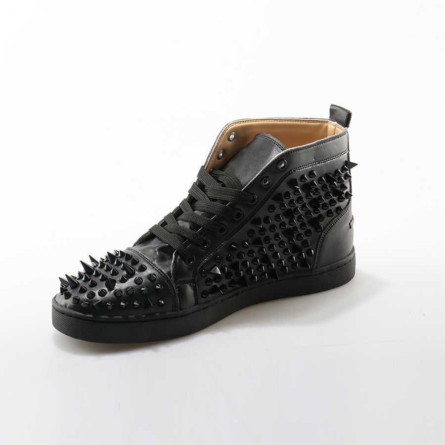 ... Okhotcn модные Кружево до Мужская Обувь Sapato masculino Мужская обувь  высокая повседневная обувь черный Заклёпки Украшенные ... 323898cf5f9