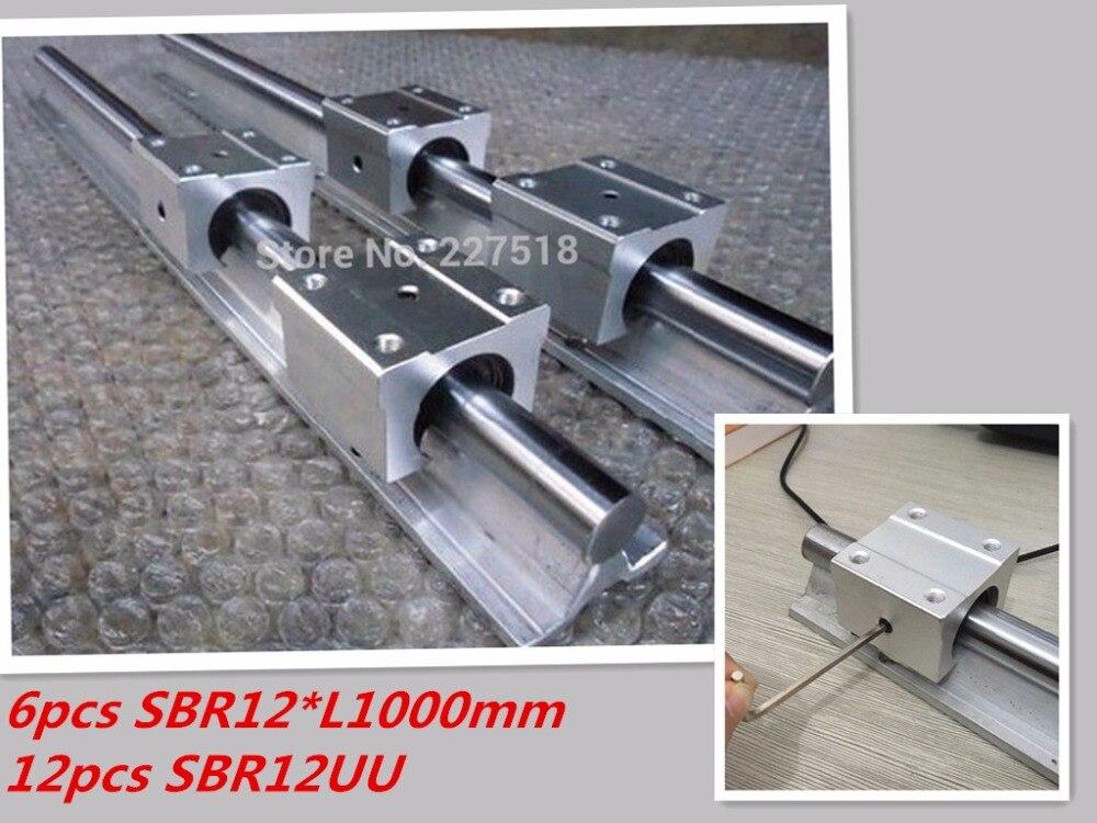 12mm linear shaft rail 6pcs SBR12 -L1000mm linear guide + 12pcs SBR12 linear bearing block 2x sbr12 700mm 12mm linear bearing rail slide guide shaft with 4pcs sbr12uu blocks