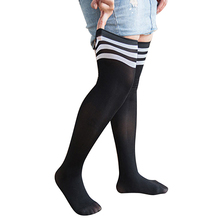 Plus Size Women Bomullsstrumpor, Fashion Striped Lår High Over Knä Sock for Girls, Kvinna Hög Flexibel Svart Strumpor 16