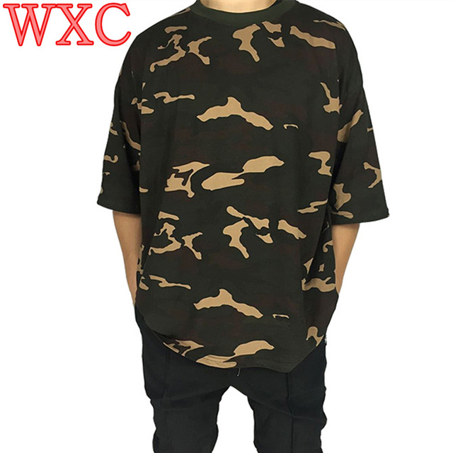 Summer Camo Tee Hip Hop Women T Shirt Military Camouflage Short Sleeve O-Neck Kanye West T Shirt For Streetwear Kpop Clothes WXC