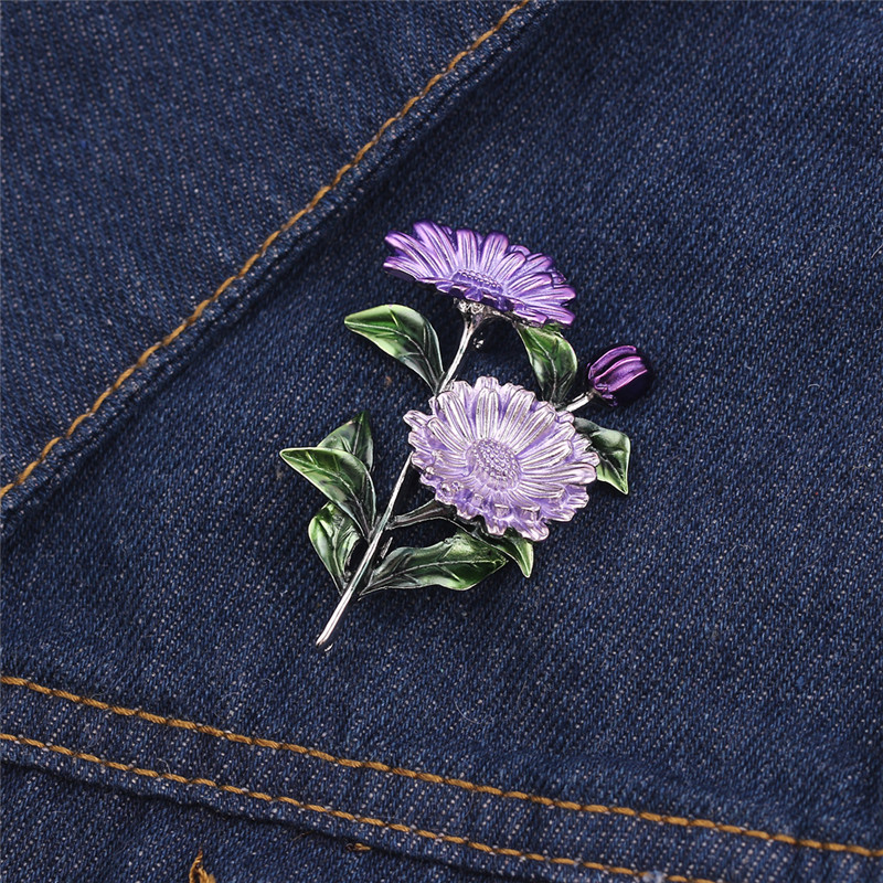Fashion Daisy Flower Leaves Brooch Pin Pink Purple Yellow Chrysanthemum Brooch CLOVER JEWELLERY
