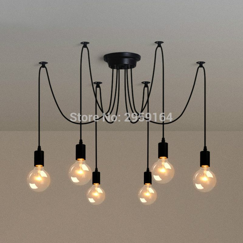 6 Heads E27 Sockets Nordic Industrial Edison Chandelier Vintage Pendant Lamp Loft Antique Adjustable DIY Home Lighting w/o Bulb loft antique retro spider chandelier art black diy e27 vintage adjustable edison bulb pendant lamp haning fixture lighting