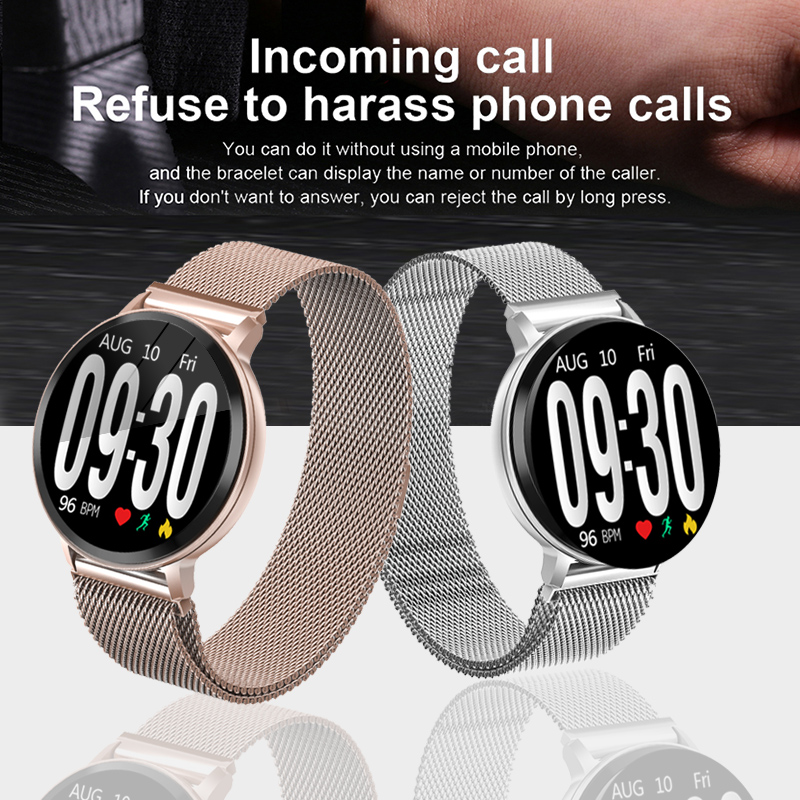 LIGE Smart Bracelet Women Silver strap Fitness Watch Blood Pressure Heart Rate Monitor Pedometer Smart Watch Men For Android iOS in Smart Wristbands from Consumer Electronics