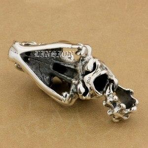 Image 5 - 925 argent Sterling énorme lourde défense Fang tigre Lion roi crâne hommes garçons Biker Rock Punk pendentif 9T024 juste pendentif