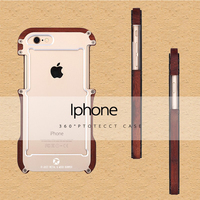 Newest Brand Shockproof Armor Wood Grain Aluminum Metal Bumper Frame Case Cover For Iphone 5 5S