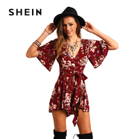 SHEIN Shorts Rompers Womens Jumpsuits Summer Ladies Red Sexy Deep V Neck Short Sleeve Floral Tie