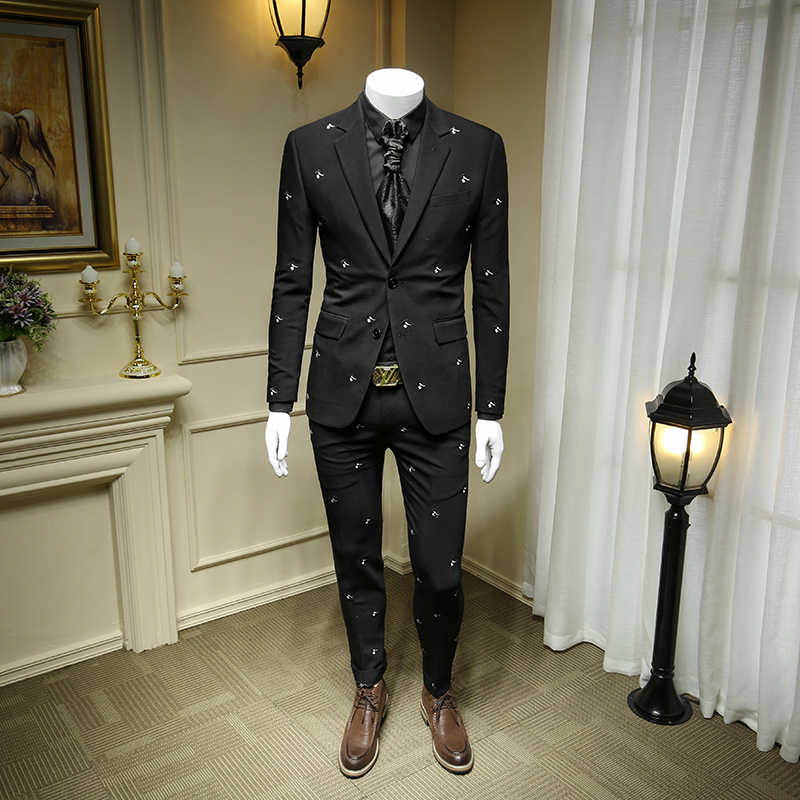 XM GEEKI Mens Black Embroidered Business Casual Dress Suit Jackets  Men's Suits Wedding Dresses Suits Groom  Blazer 365wt52
