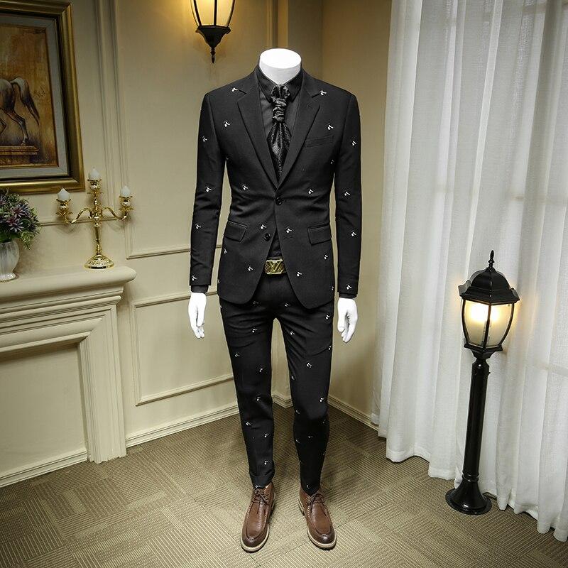 XM GEEKI Mens Black Embroidered Business Casual Dress Suit Jackets  Men's Suits Wedding Dresses Suits Groom  Blazer 365wt52