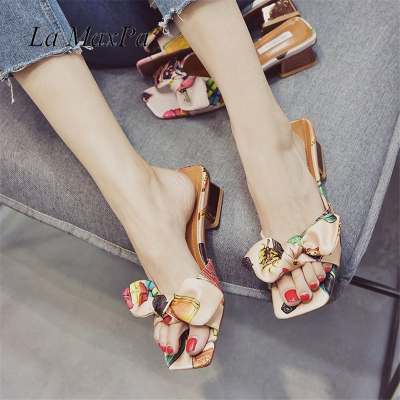 NEW 2018 Open Toe Chunky Heels Mules Ethnic Style Silk Cloth Decoration Summer Slippers Casual Bow-knot Shoes Woman Flats Slides
