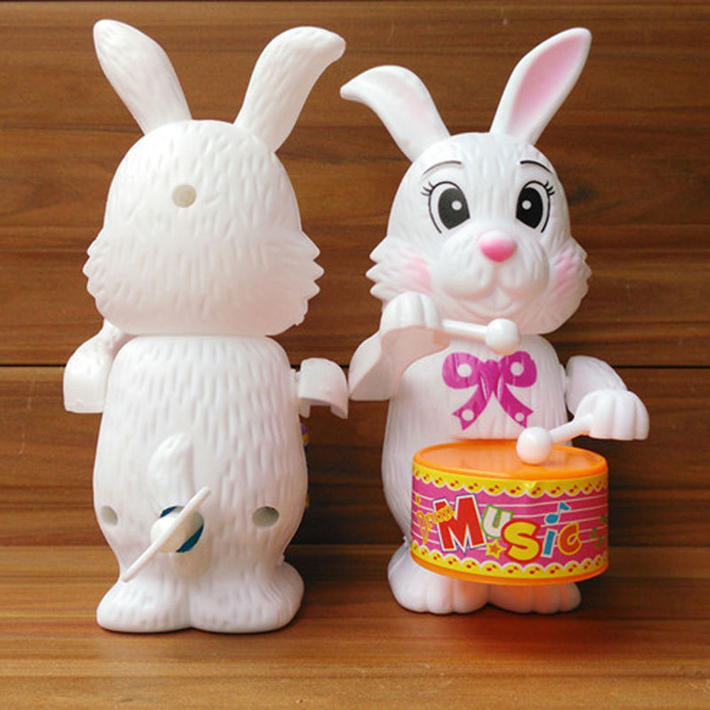 Funny Cute 1pcs Kid Girls Rabbit Drumming Toy Clockwork Wind-Up Developmental Toy Gift Cartton Rabbit Drumming Toy