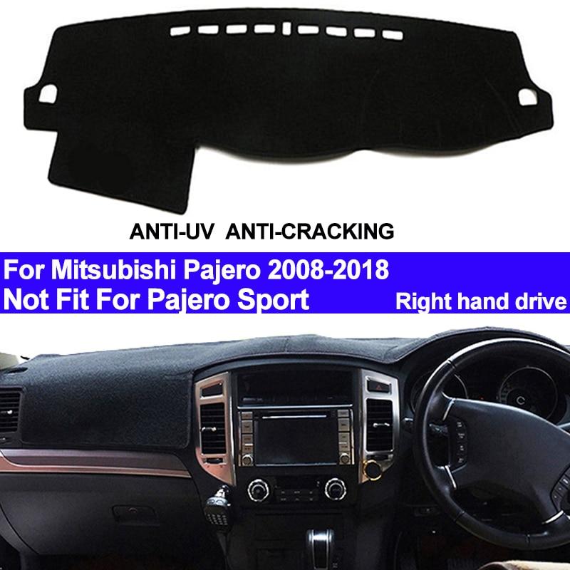 TAIJS RHD Car Dashboard Cover Dash Mat For Mitsubishi Pajero 2008 2009 - 2013 2014 2015 2016 2017 2018 Auto DashMat Carpet Pad