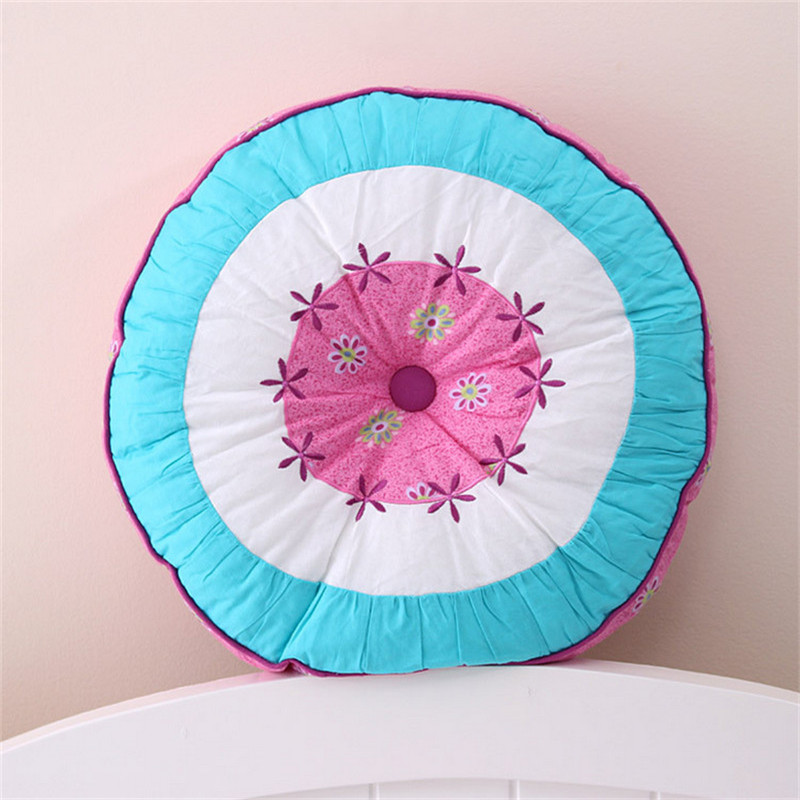 43x10cm Loverly Flower Shape Cotton Quilt Cushion Embroidered Car Home Sofa With Core Waist Girls Bedroom Decor