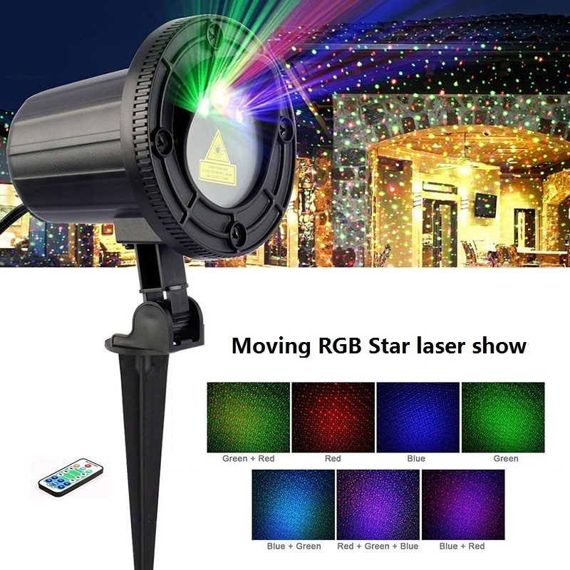 RGB Laser Christmas Lights Moving Stars Red Green Blue Showers Projector Garden Outdoor Waterproof IP65 Decoration With Remote