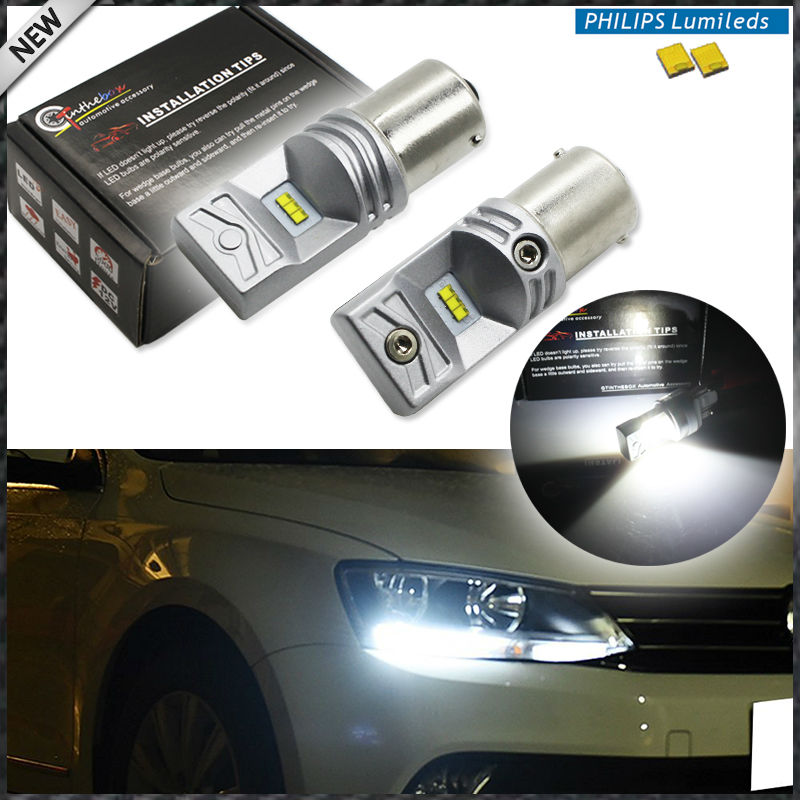 (2) 6000K Powered By Philips Luxen LED 1156 7506 LED Replacement Bulbs 2011-2015 Volkswagen Jetta Daytime Running Lights, DRL