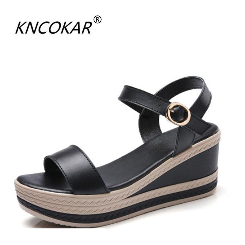 KNCOKAR 2018 Summer new style women thick - bottomed leather style comfortable and comfortable solid color wedge sandals 35-40KNCOKAR 2018 Summer new style women thick - bottomed leather style comfortable and comfortable solid color wedge sandals 35-40