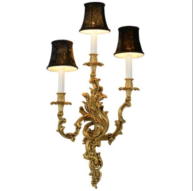 Européen rétro luxe villa salon français court cuivre cuivre applique chambre lampe de lit escalier lampe paquet mail