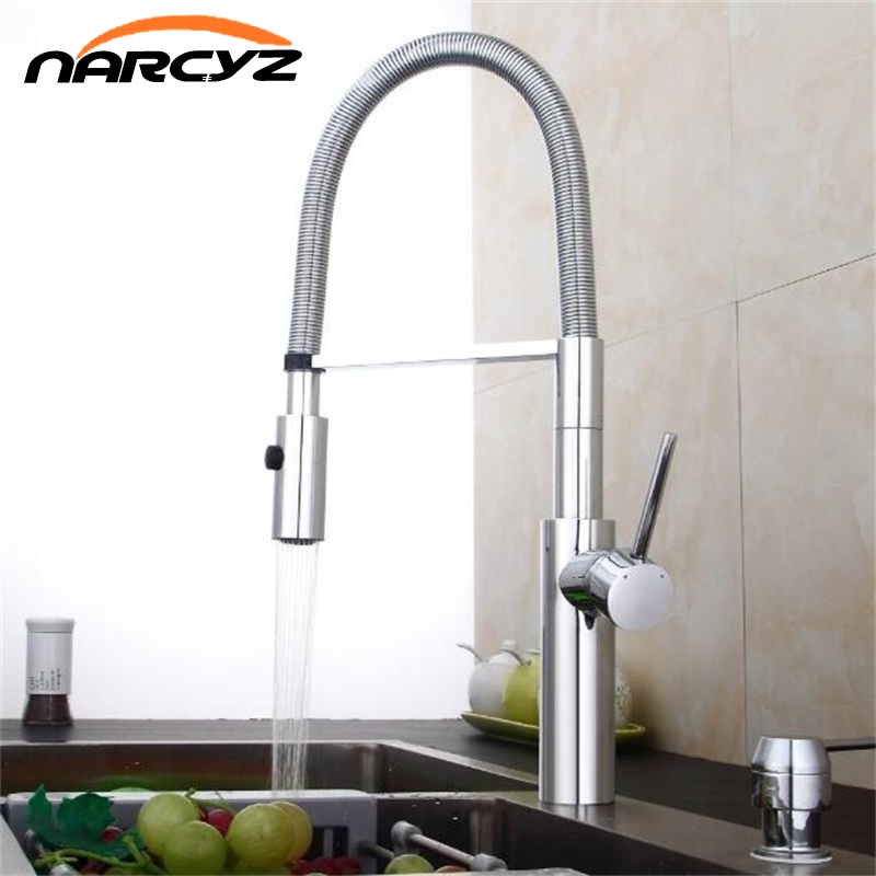 Kitchen Faucet Newly Design 360 Swivel Solid Brass Single Handle Mixer Sink Tap Chrome Hot and Cold Water Torneira XT-83 360 swivel solid brass spring kitchen faucet sink mixer tap swivel spout mixer tap hot and cold water torneira page 1