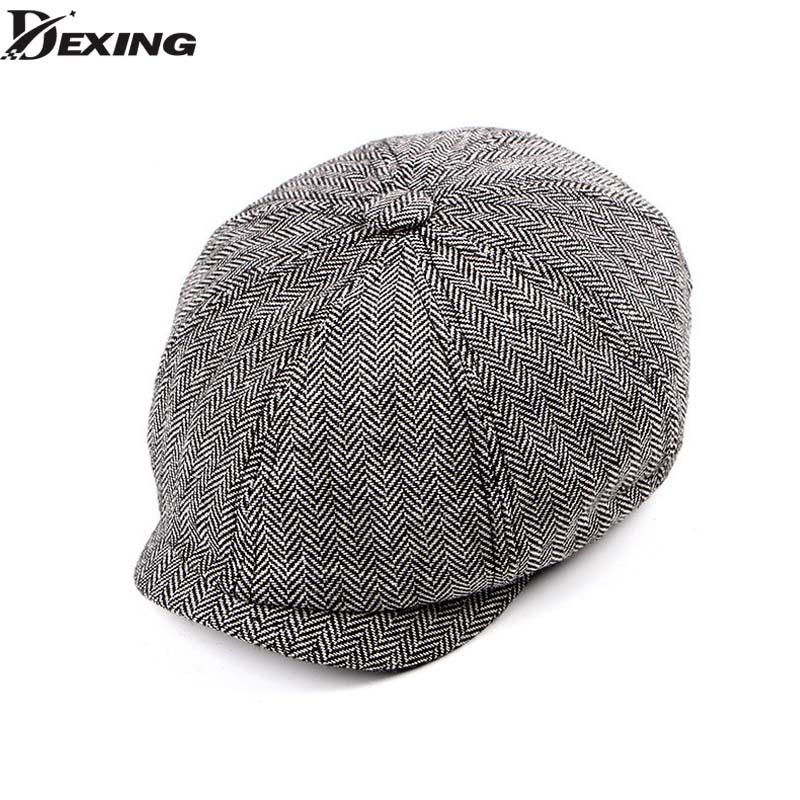 Tweed Gatsby Newsboy Cap  Spring  Autumn  Hat For Men Golf Driving Flat Cap Berets Men  Peaky Blinders Hat Bone(China)