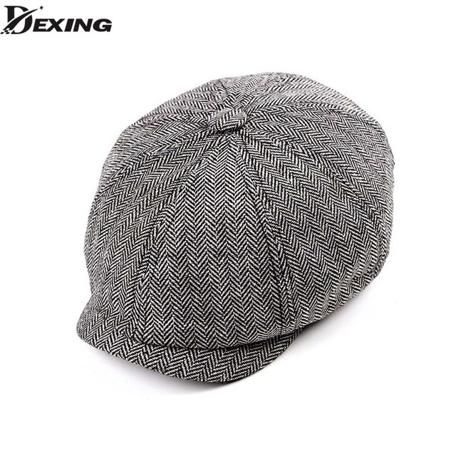 03df654885340 Tweed Gatsby Newsboy Cap spring autumn Hat for men Golf Driving Flat cap  Berets men peaky