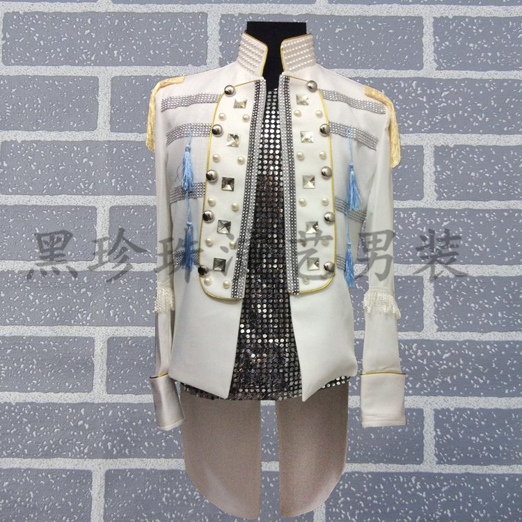 mens stand collar beading swallowtail tuxedo suit /event/stage performance