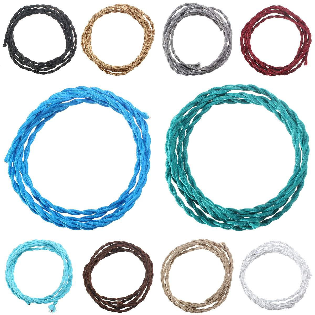 1M 2 Core Vintage Twist Electrical Wire Color Braided Wire Fabric ...