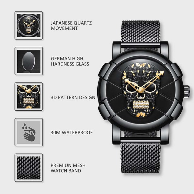 LUXURY MASCULINO SKULL WATCHES (2 VARIAN)