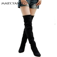 High Quality Women Shoes Fashion Pointed Toe Nubuck Leather Boots Over The Knee Slip On High