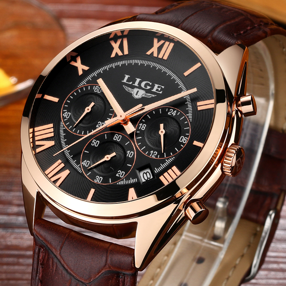 Wrist watches brands for mens - Lige 2017 Mens Watches Top Brand Luxury Quartz Watch Casual Leather Sports Wrist Watch Montre Homme