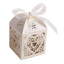 100 sztuk/partia drążą serce wycięte laserowo papierowe pudełka na cukierki fioletowy beżowy biały różowy prezent torba ślub Baby Shower Party Favor