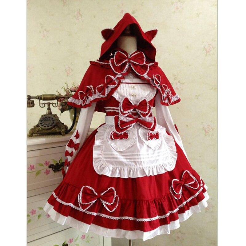 Petit chaperon rouge Costume femme de chambre coton dentelle lolita Costume rétro gothique lolita robe avec châle