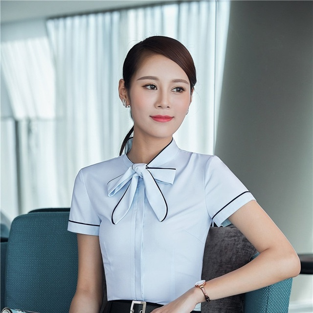 000206a74566 Formal Elegant Blue Slim Fashion Blouse & Shirts For Ladies Office Work  Wear Business Women Blouses Shirt Female Tops Clothes