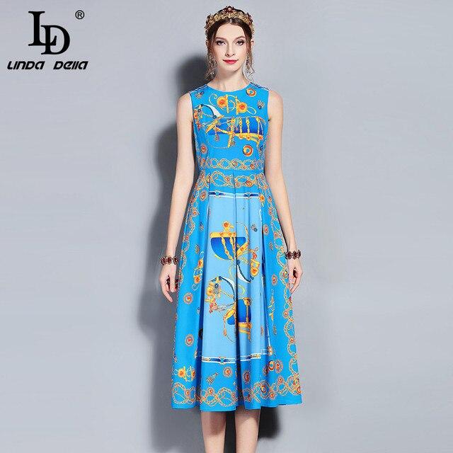 90d105ebd635c LD LINDA DELLA New 2018 Fashion Designer Runway Summer Dress Women's  Sleeveless Tank Vintage Pattern Print Midi Dress Female-in Dresses from  Women's ...