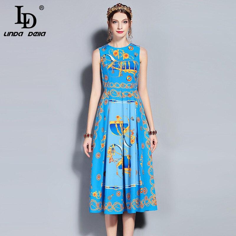 Ld linda della 새로운 2018 패션 디자이너 활주로 여름 드레스 여성 민소매 탱크 빈티지 패턴 인쇄 미디 드레스 여성-에서드레스부터 여성 의류 의  그룹 1