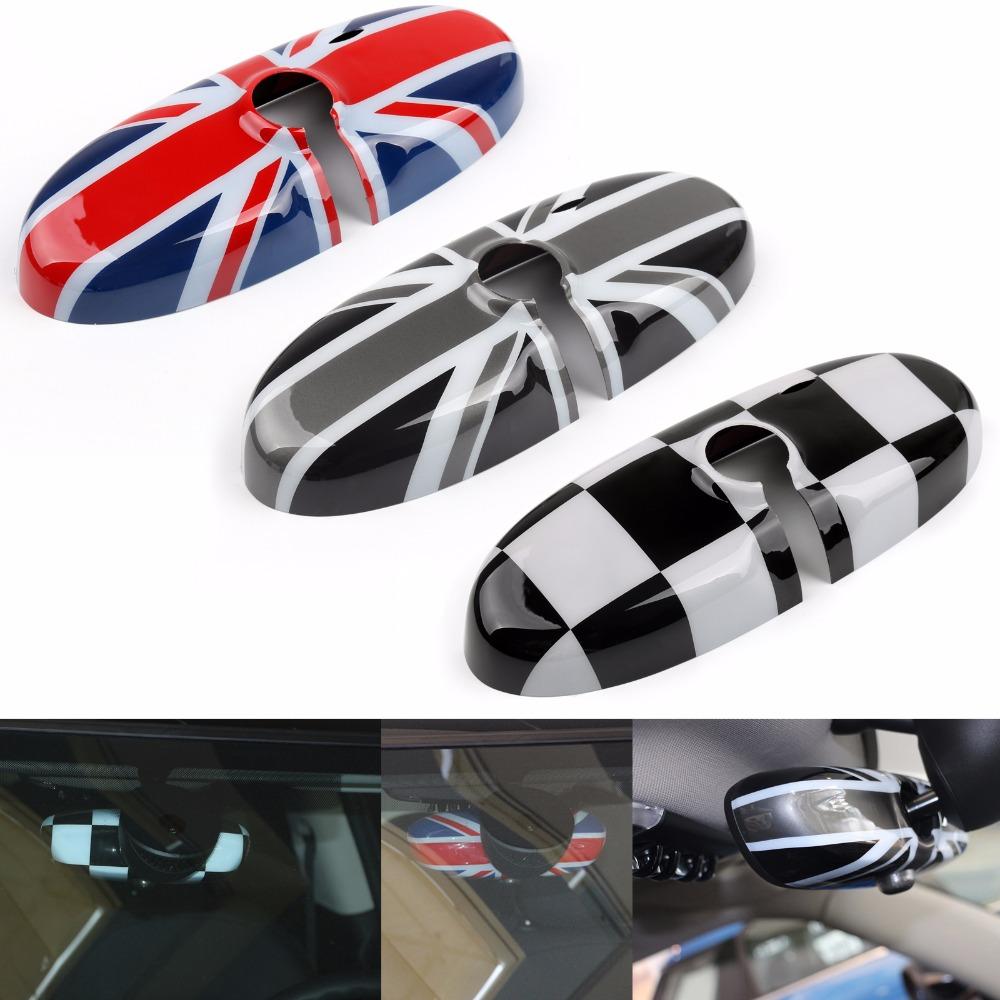 Areyourshop For MINI Cooper R55 R56 R57 Car Rear View Mirror Cover Housing ABS Plastic Rearview Mirror Cover Car Interior Parts
