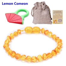 Lemon Comeon 2PCS Baltic Natural Amber Baby Teether Molar Bracelet Teething Amber Beads Toy To Send Teether Certificate For Baby стоимость
