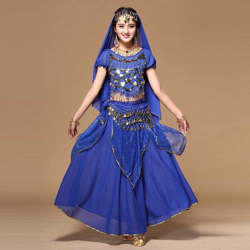 Femmes Costume De Danse Orientale Ensemble Style National Bollywood Danse Sari Indien Jupe 7 pièces Costume Sexy de Danse D'étape Robe