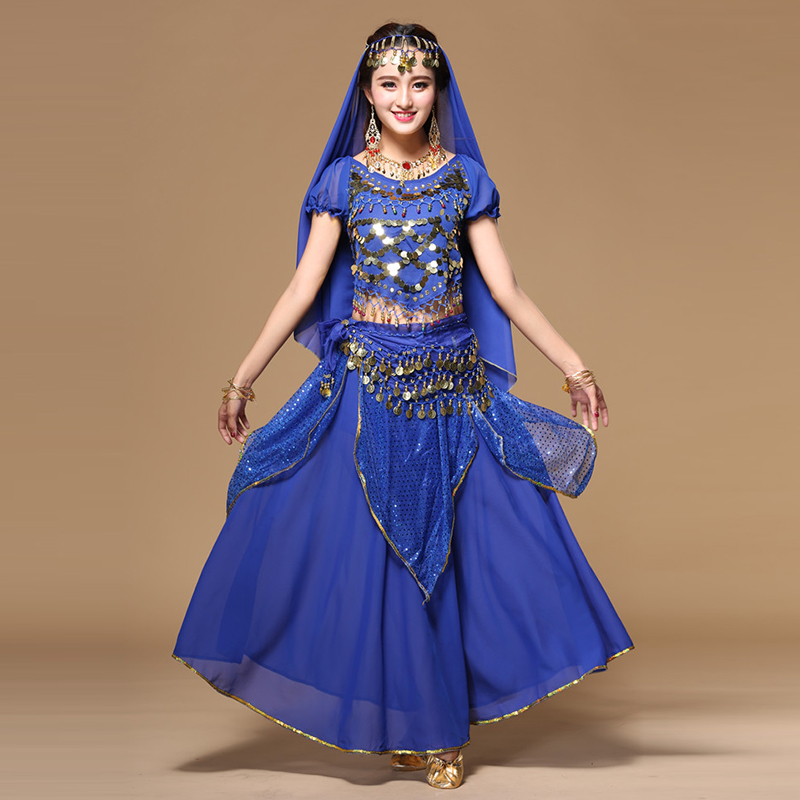Women Bellydance Costume Set National Style Bollywood Dance Performance <font><b>Indian</b></font> <font><b>Sari</b></font> <font><b>Skirt</b></font> 7pcs Suit Sexy Stage Dancing Dress image