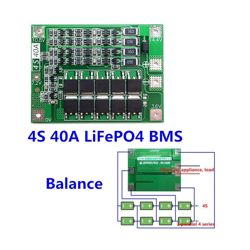 <font><b>4S</b></font> <font><b>40A</b></font> 12.8V 14.4V 18650 <font><b>LiFePO4</b></font> battery protection board/ lithium iron <font><b>BMS</b></font> with Balance image
