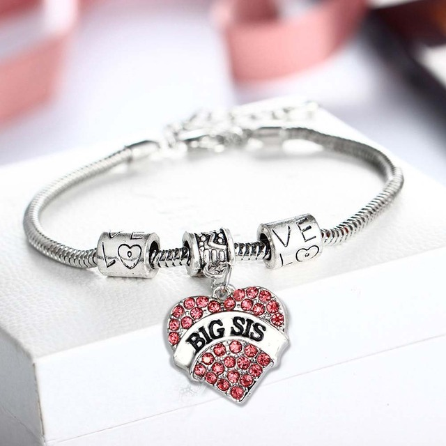 Sister Bracelets Love Heart Red Crystal Accessories Bracelet Charms Bangle Jewelry Family Gifts Women S