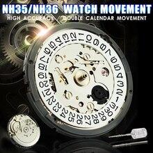 Movimiento de reloj mecánico de alta precisión, completamente automático, para reloj de pulsera, bobinado, NH35 NH36, juego de fecha y movimiento