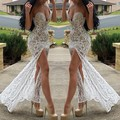 2016 Sexy Evening Dress Mermaid Sweetheart Nude Lining Lace Side Slit Formal Celebrity Dresses Vestidos Longo de Festa Robes