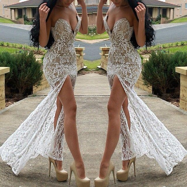2016 Sexy Evening Dress Mermaid Sweetheart Nude Lining Lace Side Slit Formal Celebrity Dresses Vestidos Longo de Festa Robes