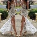 2016 Sexy vestido de noche de la sirena del amor desnuda forro encaje raja del lado Formal Celebrity Dresses Vestidos Longo de Festa Robes