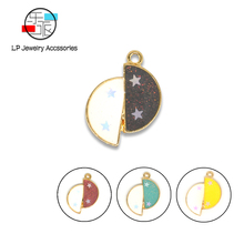 Star & Moon Esnamel  DIY Jewelry Making Accessories Alloy Material Handmade Charms Earrings necklace findings 10pcs/lot