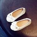 Sapatas do adolescente подросток девочка мило галстук-бабочка плоские туфли дети pu кожаные мягкое дно обувь для детей партийной школы обувь