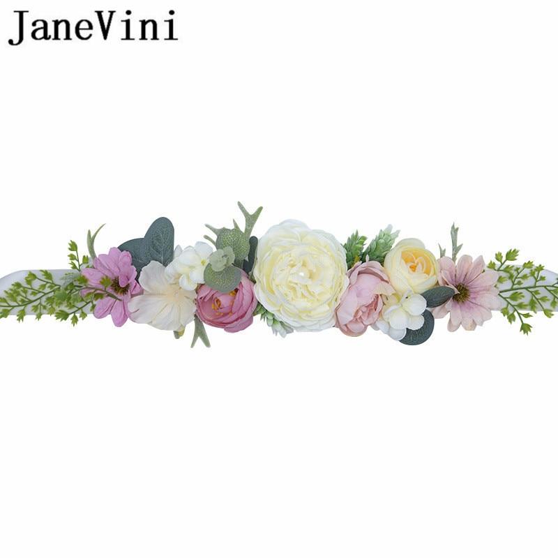 JaneVini New Bohemia Bridal Belts With Flowers Crystal Women Rhinestone Sash Wedding Party Bride Bridesmaid Satin Belt Dress