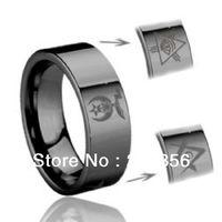Free Shipping Buy Cheap Price Discount Jewel USA HOT Selling 8MM Men&Womens Tribel Masonic Shriner Engraved Black Wedding Rings